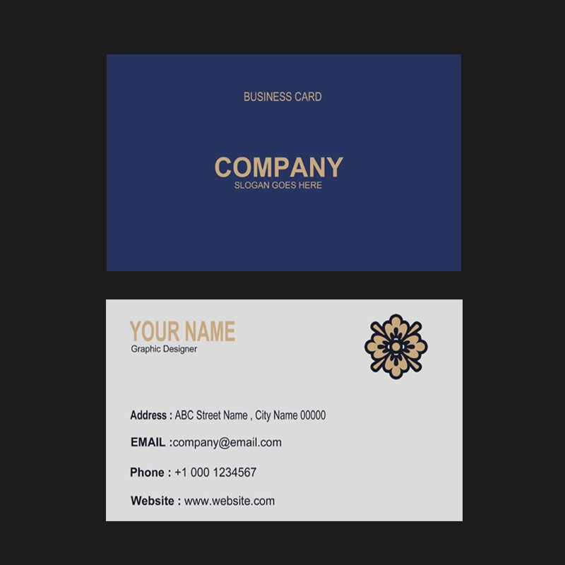 Flowers Company Business Card Template Design Free PSD Download