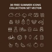 30 Free Summer Icons Collection Set Vector Download