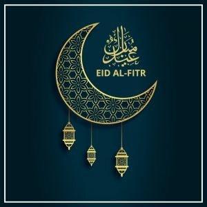 Eid Al-Fitr Festival Greeting Card Vector Design Free Download