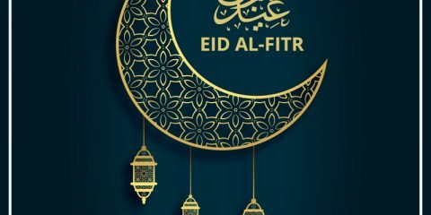Eid Al-Fitr Festival Greeting Card Vector Design Free Download