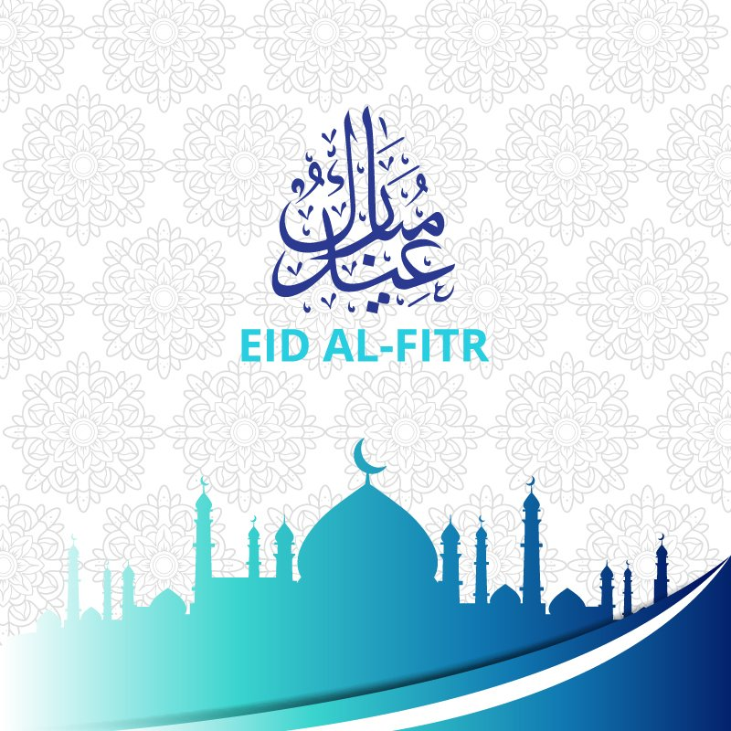 Eid Al-Fitr Mubarak Card Vector Design Free Download