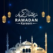 Ramadan Kareem Greeting with Hanging Lantern Vector